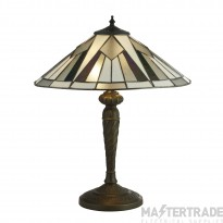 Searchlight 6075-42 Gatsby Small Table Lamp In Antique Brass With Tiffany Glass - H:530mm