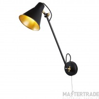 Searchlight 6302BK One Light Adjustable Wall Light In Black And Gold - Height: 550mm