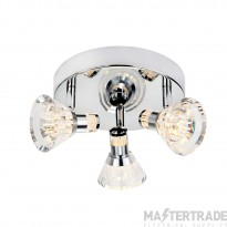 Searchlight 6363CC Dimmable 3 Light LED Spotlight With Round Plate In Chrome With Clear Shade