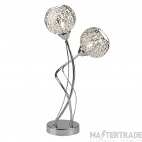 Searchlight 6532-2CC Souk Two Light Table Lamp In Chrome With Fretwork Shades