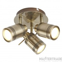 Searchlight 6603AB Samson Three Light Ceiling Spotlights In Antique Brass