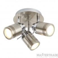 Searchlight 6603SS Samson Three Light Ceiling Spotlights In Satin Silver