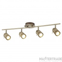 Searchlight 6604AB Samson Four Light Ceiling Bar Spotlight In Antique Brass