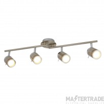 Searchlight 6604SS Samson Four Light Ceiling Bar Spotlight In Satin Silver
