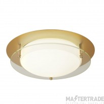 Searchlight 6830-30GO Bathroom Flush Ceiling Light In Gold With Clear Glass - Dia: 300mm