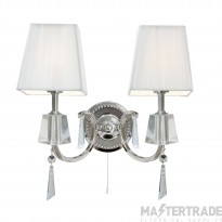 Searchlight 6882-2CC Portico Double Chrome And Crystal Wall Light