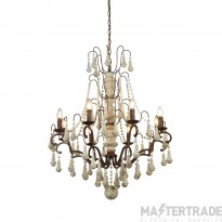 Searchlight 6938-8BR Dauphin Eight Light Ceiling Pendant Light In Rustic Brown And Faux Stone