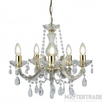 Searchlight 699-5 Marie Therese 5 Light Crystal Chandelier in Polished Brass