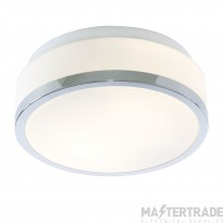 Searchlight 7039-23CC Discs Bathroom Flush Ceiling Light In Chrome With Opal Glass - Dia: 230mm