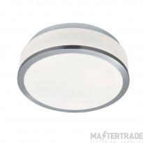 Searchlight 7039-23SS Bathroom Flush Modern Satin Silver Light with Opal Glass