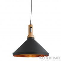 Searchlight 7051BK Pendants 1 Light Ceiling Pendant Light In Black Metal/Wood With Gold Inner