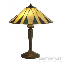 Searchlight 7066-42 Charleston Small Table Lamp In Antique Brass With Tiffany Glass - H: 530mm