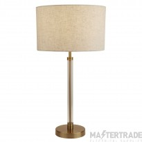 Searchlight Siena Table Lamp, Clear/Bronze, Oatmeal Shade