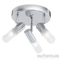 Searchlight 7213CC-LED 3 Light Ceiling Spotlight In Chrome With Frosted Glass Diffusers