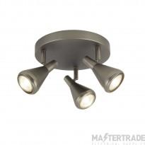 Searchlight 7243-3AS Tinley 3 Light Round Flush Ceiling Spotlight In Matt Antique Silver