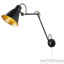 Searchlight 7403BK One Light Adjustable Wall Light In Black And Gold - Height: 730mm