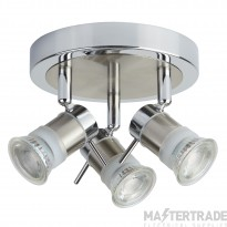 Searchlight 7443CC-LED 3 Light Round Ceiling Spot Light In Chrome And Satin Silver