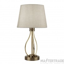 Searchlight Vegas Led Table Light, Antique Brass With Oatmeal Shade