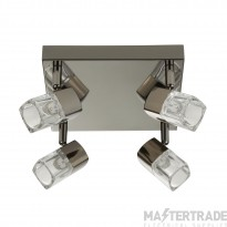 Searchlight 7884BC-LED Blocs Four Light Ceiling Square Plate Spotlight In Black Chrome And Glass