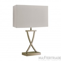 Searchlight Club Table Lamp, Antique Brass, Cream Rectangle Shade