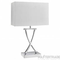 Searchlight Club Table Lamp, Chrome, White Rectangle Shade