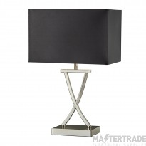 Searchlight Club Table Lamp, Satin Silver, Black Rectangle Shade