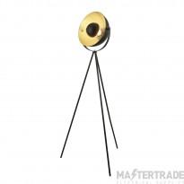 Searchlight Blink 1Lt Tripod Floor Lamp, Matt Black With Gold Shade Interior
