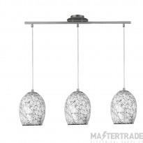 Searchlight 8069-3WH Crackle 3 Light White Mosaic Glass Pendant