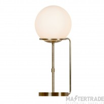 Searchlight 8092AB Sphere One Light Table Lamp In Antique Brass With Glass Shade