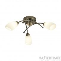 Searchlight 8183-3AB Opera 3 Light Flush Ceiling Light Antique Brass