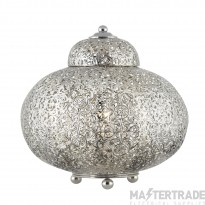 Searchlight 8221-1SS Moroccan 1 Light Table Lamp In Shiny Nickel With Patterned Finish