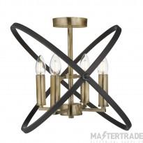 Searchlight 8344-4BZ Hoopla 4 Light Semi Flush Ceiling Light In Bronze