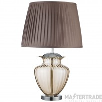 Searchlight Elina Table Lamp Large Glass Urn, Amber Glass, Chrome, Brown Pleated Shade