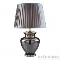 Searchlight Elina Table Lamp Large Glass Urn, Smokey Glass, Chrome, Pewter Pleated Shade