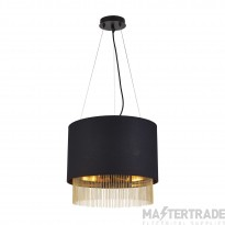 Searchlight 8723-3BK Fringe Round Ceiling Pendant Light In Black And Gold