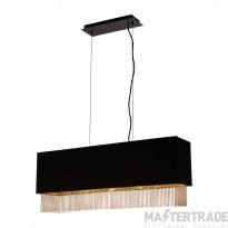 Searchlight 8724-4BK Fringe Rectangular Ceiling Pendant Light In Black And Gold