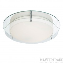Searchlight 8803-36CC Flush Ceiling Light In Chrome With Glass Edging