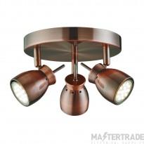 Searchlight 8813CU Jupiter Modern Copper LED 3 Way Ceiling Spotlight