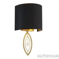 Searchlight 9137GO 1 Light Wall Light In Gold With Black Shade