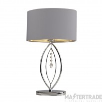 Searchlight Crown Chrome Table Lamp,  Grey Oval Shade,  Silver Interior Shade
