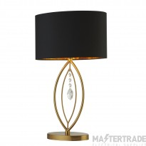 Searchlight Crown Gold Table Lamp,  Black Oval Shade,  Gold Interior Shade