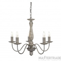 Searchlight 9235-5GY Sycamore Five Light Ceiling Pendant Light In Washed Grey Wood