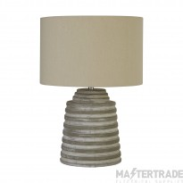 Searchlight Liana Grey Ridged Cement Table Lamp With Grey Shade