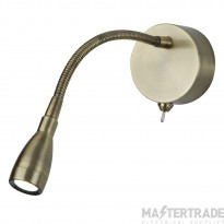 Searchlight 9917AB One Light LED Wall Light With Bendy Arm In Antique Brass - Height: 290mm