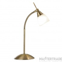Searchlight 9961AB Touch Table Lamp with White Glass in Antique Brass