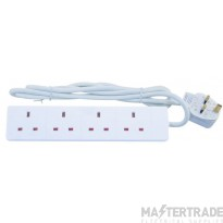 Selectric LGA 4 Gang 13 Amp Round Edged Extension Lead - 5 Metre Lead - Unswitched - White