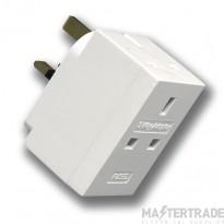 Selectric LGA 13 Amp 3 Way Adaptor - Fused - White