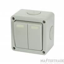 Selectric LGA IP66 Rated 10 Amp Heavy Duty Plate Switch - 2 Gang 2 Way - X-Rated