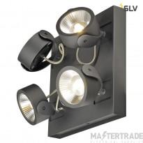 SLV 1000135 KALU LED 4 Wall and Ceiling luminaire, square, black, 3000K, 60?