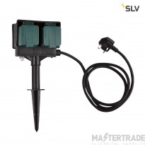 SLV 4 socket garden outlet, black, UK version, 1,5m cable, IP44